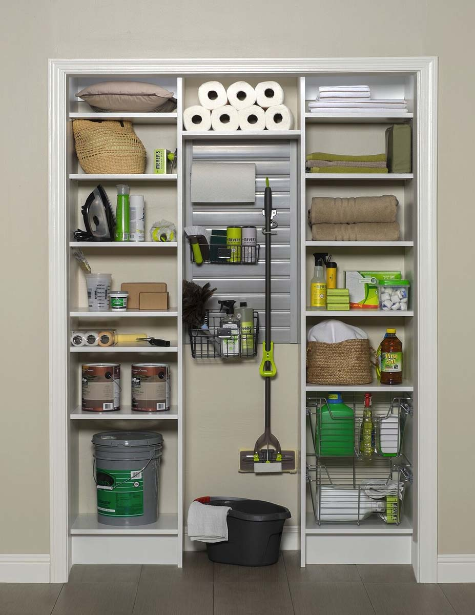 Organized Utility Closet with Cleaning Supplies at Home