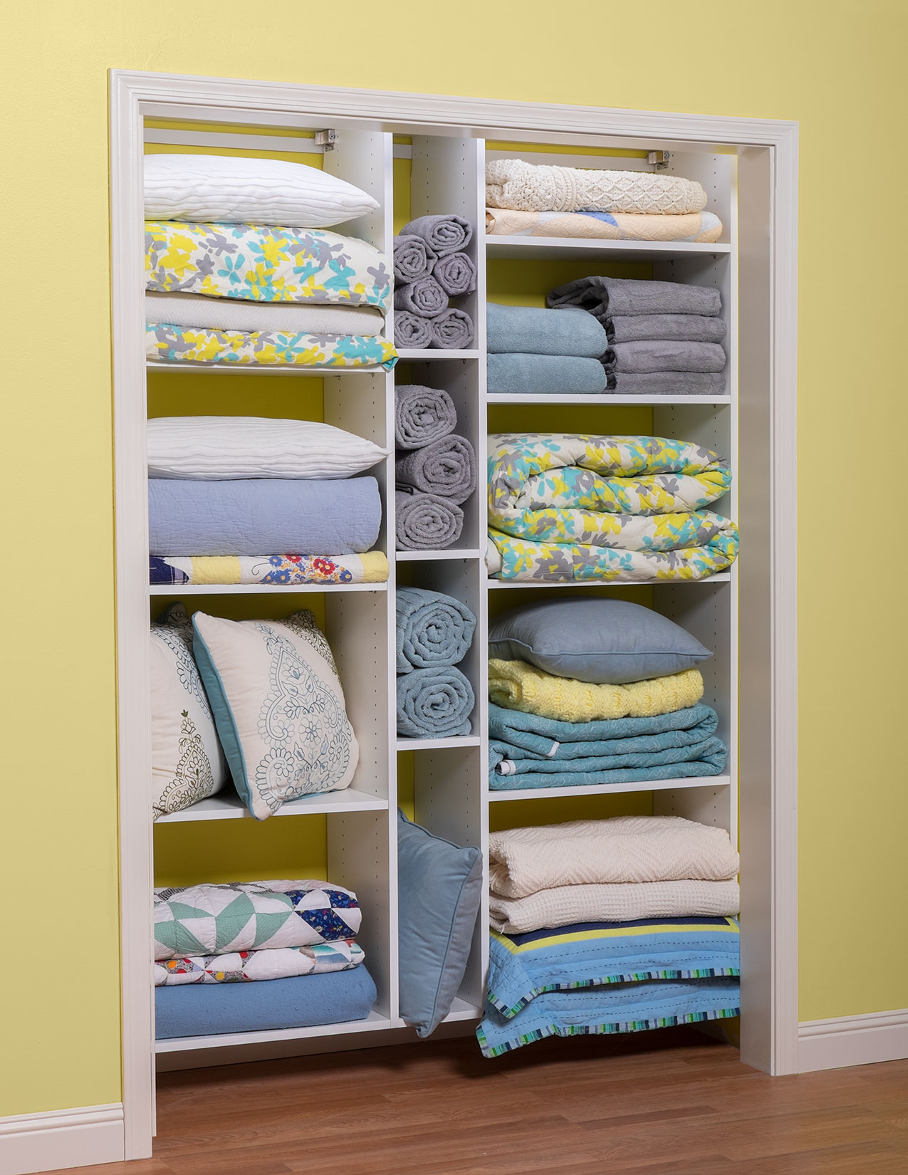 Adjule Shelving In Linen Closet For Storage Solutions Organized Cleaning Supplies Utility