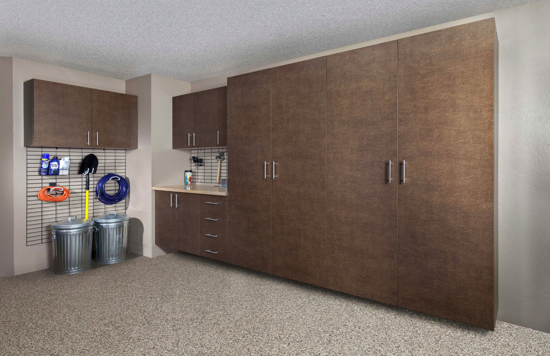 Garage Organizing System With Grid And Windswept Bronze Cabinets