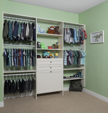 Antique White Kids Reach In Closet Hanging Space